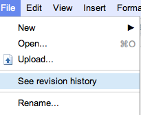 See Revision History - Working Together on Google Docs