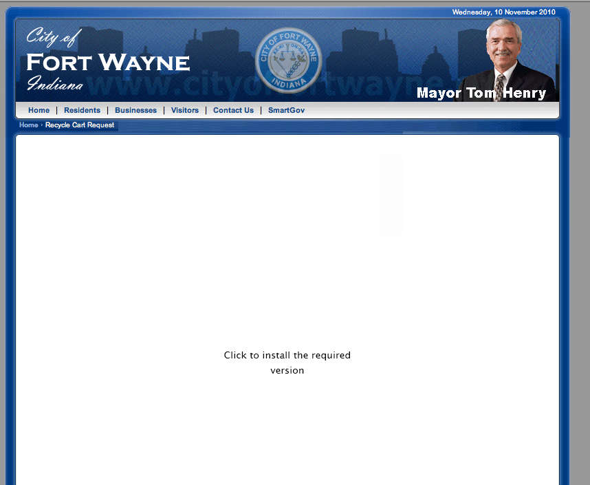 City Of Fort Wayne Web Site Requiring Download